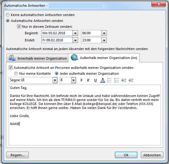 Abwesenheitsnotiz in Outlook einrichten - so einfach geht