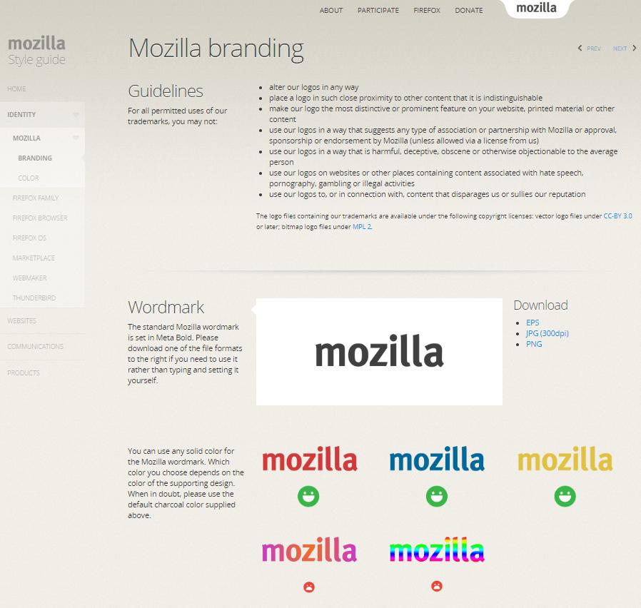 screenshot des mozilla styleguides mit richtlinien zum branding und zur wortmarke - Reizworter Beispiele