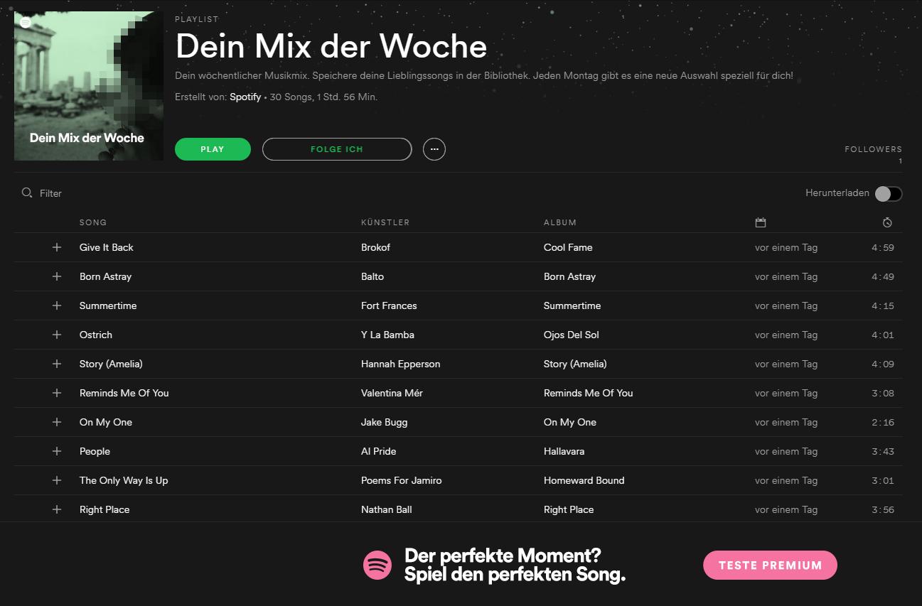 Spotify Mix Der Woche Speichern