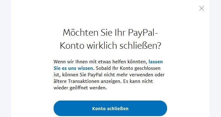Paypal Konto Schliessen