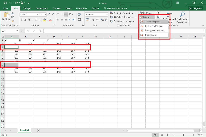 Excel Leere Zeilen Löschen