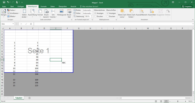Excel Druckbereich Anzeigen