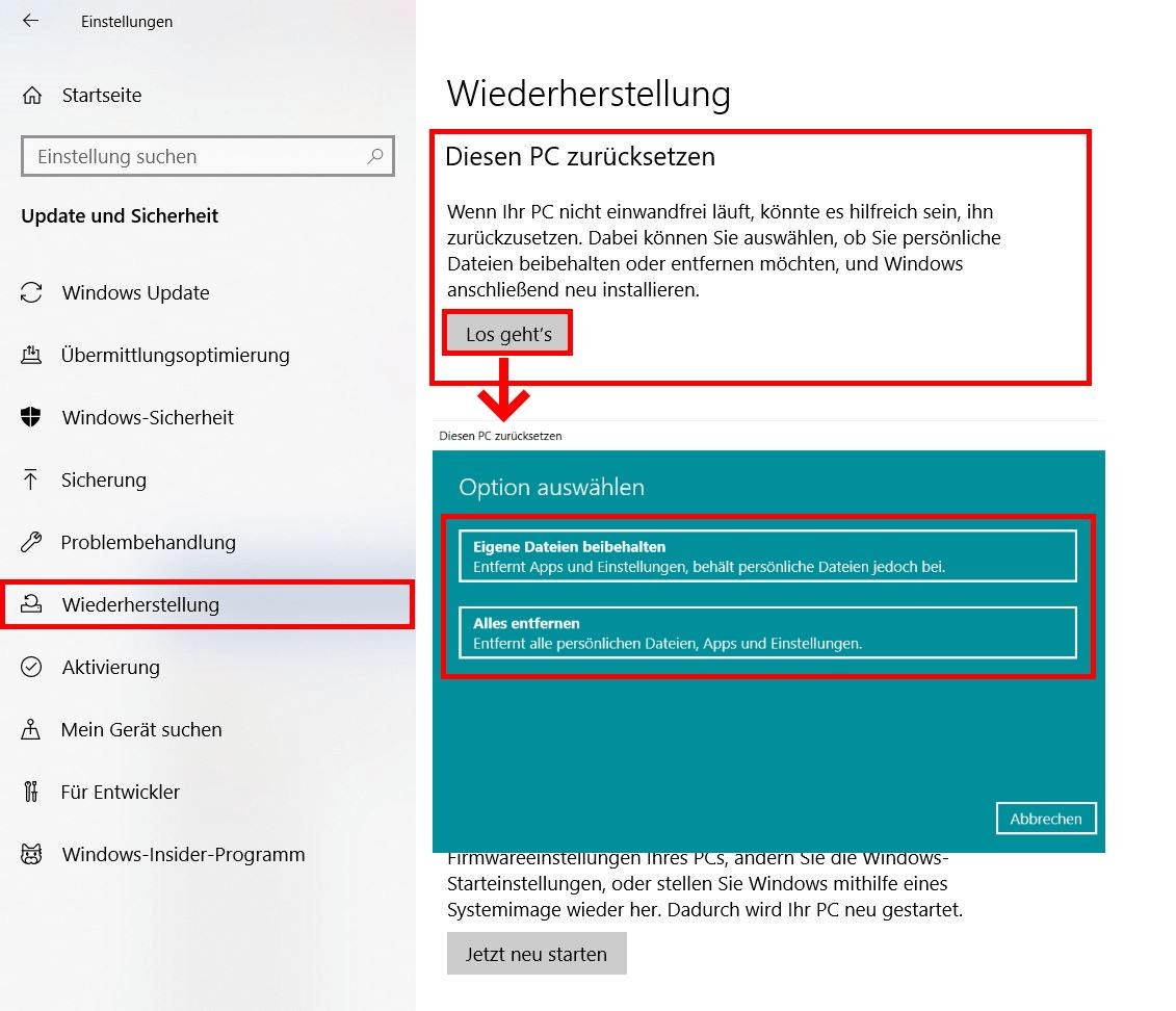 Windows Komplett Zurücksetzen