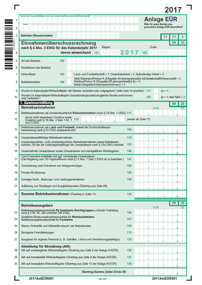 Einnahmenüberschussrechnung Eür Einfach Erstellen 11
