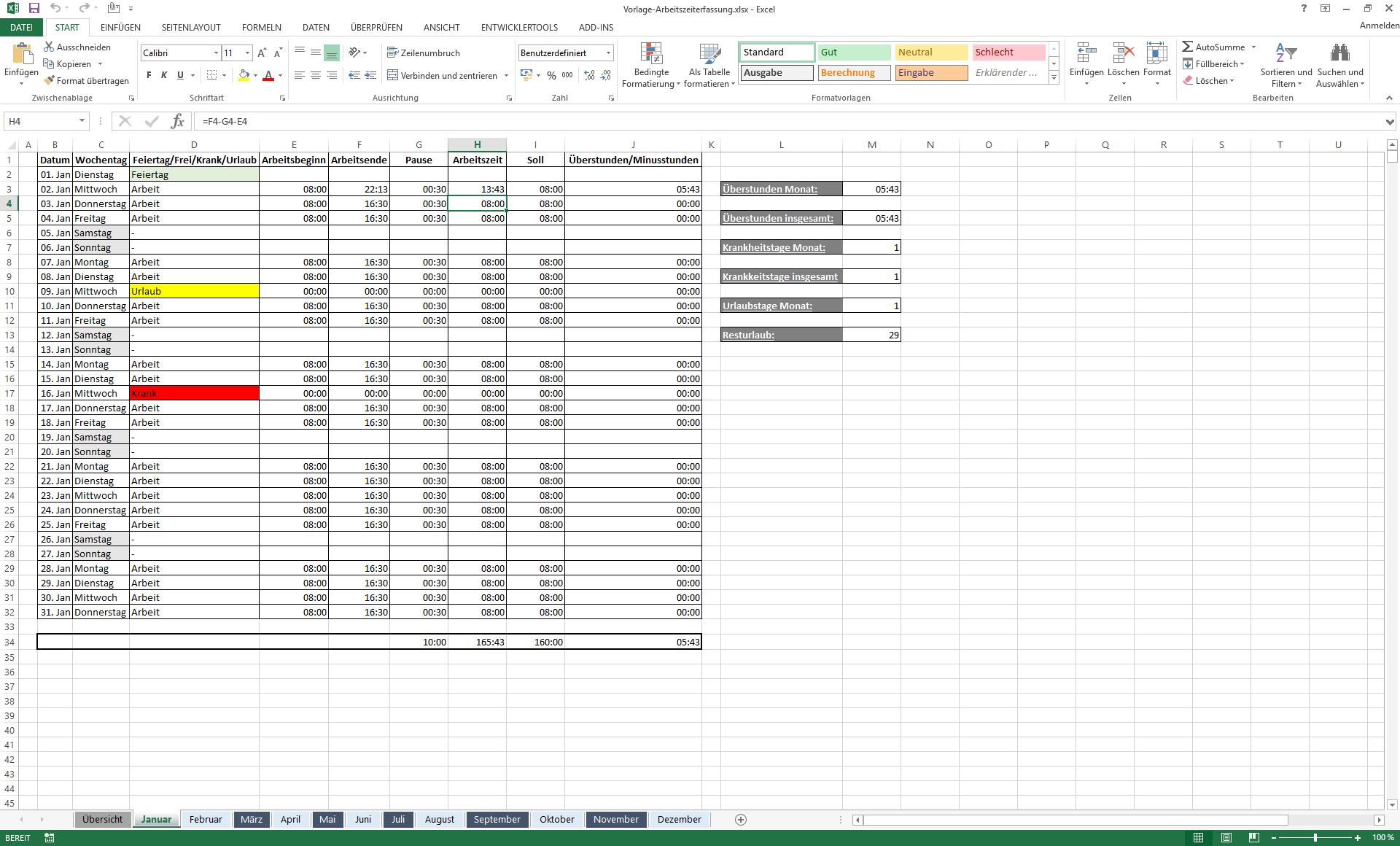 Arbeitszeiterfassung In Excel Schritt Fur Schritt Kostenlose Vorlage Ionos